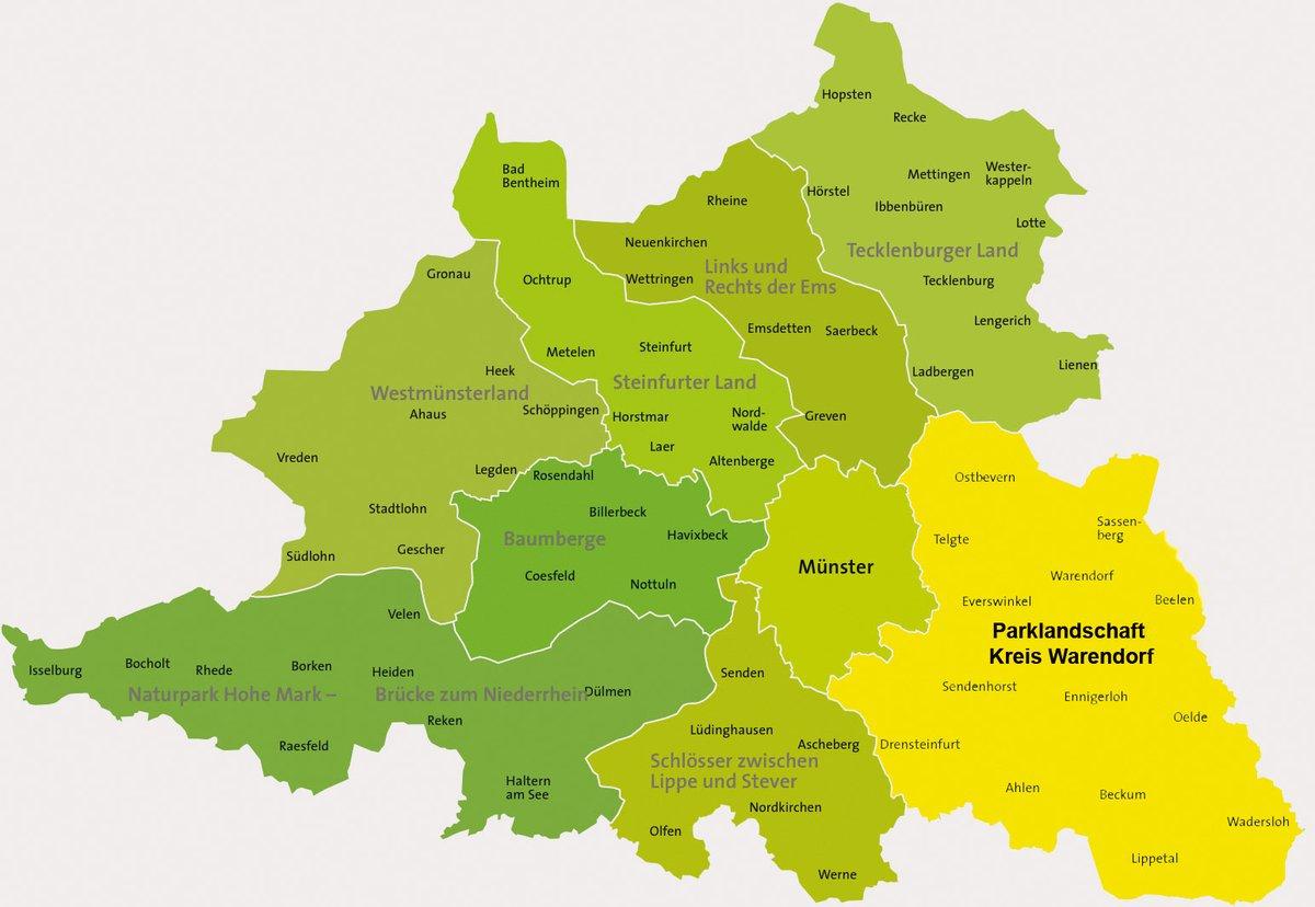 Karte Münsterland.Touristische Arbeitsgemeinschaft Parklandschaft Kreis Warendorf
